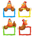 blank sign template with many chickens on white vector image
