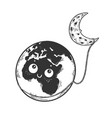 cartoon earth and moon sketch engraving vector image vector image