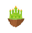 cartoon fairytale island castle on white vector image vector image