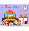 Children watching puppet in classroom vector image vector image