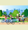 city park outdoors grandparents wooden bench vector image