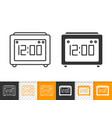 clock simple black line icon vector image vector image