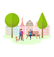 concept of leisure lovers in a city park vector image
