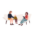 conversation between mother child and female vector image vector image