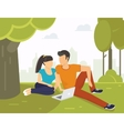 Couple in the park vector image vector image