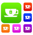 cup of tea with tea bag set collection vector image vector image