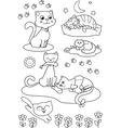 Cute cartoon cats coloring page vector image