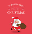 cute santa claus christmas greeting card vector image vector image