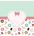 Cute template for girls with lacy doily heart vector image vector image