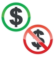 Dollar permission signs set vector image vector image