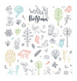 doodles woodland christmas set vector image vector image