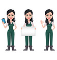 gardener woman cartoon character in uniform vector image vector image