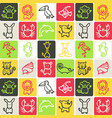 hand drawn icons set - animals 2 vector image