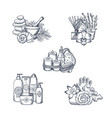 hand drawn spa elements piles set vector image