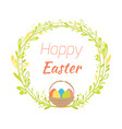 happy easter hand drawn badge with hand lettering vector image vector image