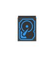 hard drive icon flat cartoon style vector image
