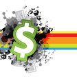 icon money design with grunge background vector image vector image