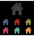 icons set on black background vector image vector image