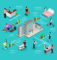 isometric infographic hotel service template vector image vector image