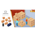isometric packaging and delivery concept vector image vector image