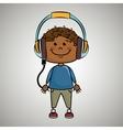 kid headphones music icon vector image vector image