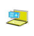 laptop computer with ticket flight vector image vector image