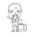 little tourist girl with camera photographic vector image vector image