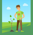 man planting tree digging soil to plant new birch vector image