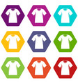 men tennis t-shirt icon set color hexahedron vector image vector image