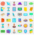 ministry icons set cartoon style vector image vector image