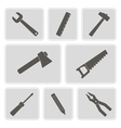 monochrome icons with building tools vector image vector image