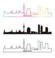 Munich skyline linear style with rainbow vector image vector image
