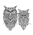 ornate owl zenart for your design vector image vector image
