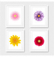 picture frame with flowers isolated transparent vector image vector image