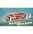 Retro racing car poster vector image vector image