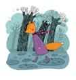sad fox walking in rain hand drawing vector image vector image
