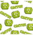 Seamless pattern with square smiley cactus 2 vector image vector image