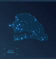 senegal map with cities luminous dots - neon vector image vector image