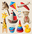 Set colorful vintage toys for kids