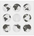 set nine globes vector image
