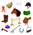 set of equestrian and grooming icons vector image vector image