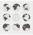 Set of nine globes vector image