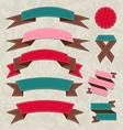 Set ribbons vintage labels geometric emblems vector image vector image