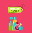 weekend sale on cosmetics vector image vector image