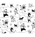 winter holidays skiing animals and kid vector image