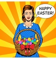 Woman with easter eggs pop art style vector image vector image