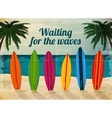 Holiday surfboards on the ocean beach vector image