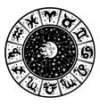 Horoscope circleZodiac signmoonsunWhiteblack vector image