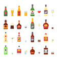 alcohol drinks in bottles cocktail glasses whiskey vector image