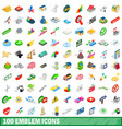 100 emblem icons set isometric 3d style vector image vector image
